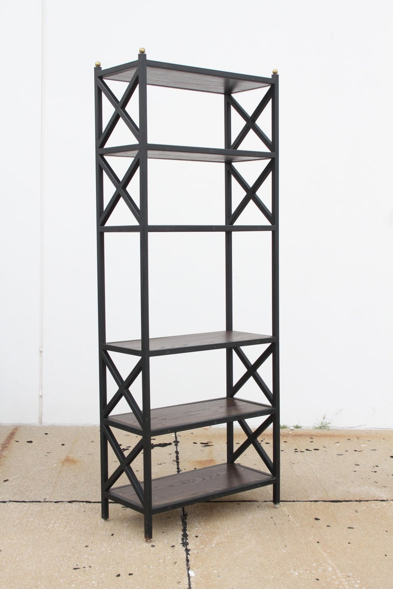 Painted Pair of Mid-Century Modern Architectural X-Form Bookcases or Étagères For Sale