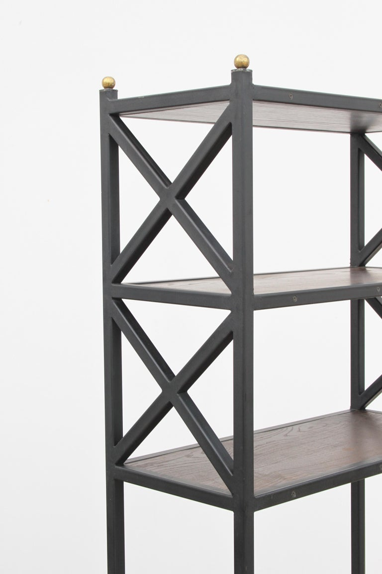 Pair of Mid-Century Modern Architectural X-Form Bookcases or Étagères In Good Condition For Sale In St. Louis, MO