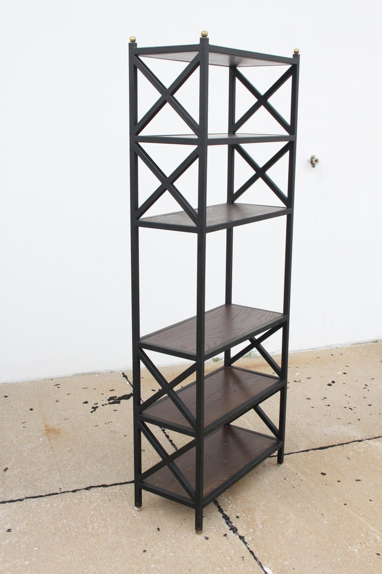 Iron Pair of Mid-Century Modern Architectural X-Form Bookcases or Étagères For Sale