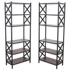 Mid-Century Modern Architectural X-Form Bookcases or Étagères - Pair Available
