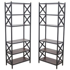 Pair of Mid-Century Modern Architectural X-Form Bookcases or Étagères