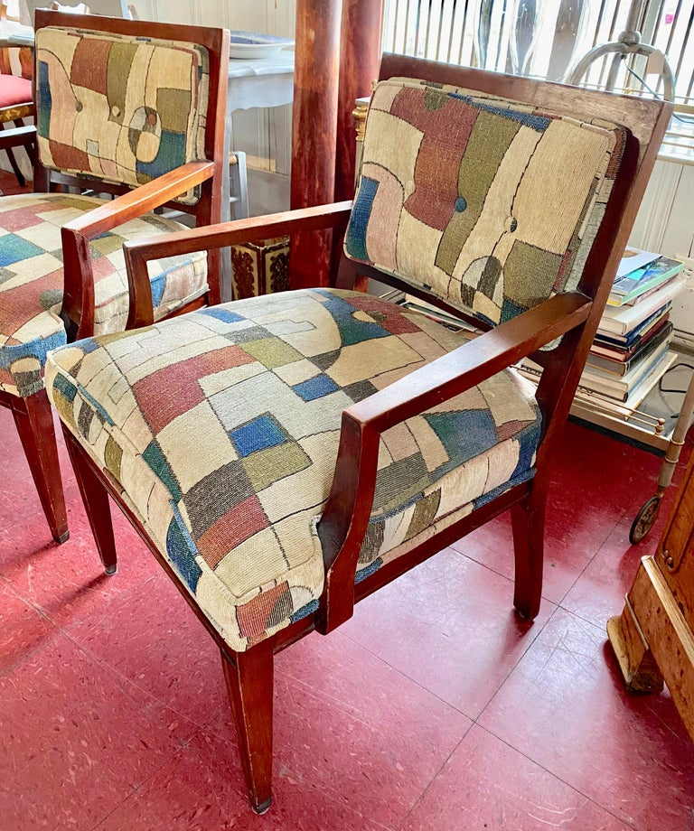2 stylish Mid-Century Modern armchairs covered in Jack Lenor Larsen style upholstery. Chairs are great as lounge chair, office chair, professional office waiting room chairs. Measures: Arm H 23.75
