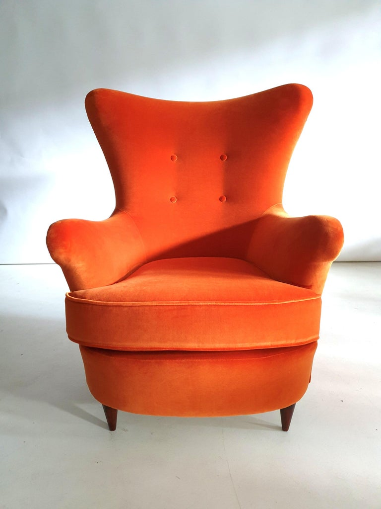 Pair of Mid-Century Modern Armchairs by Renato Angeli and Claudio Luigi In Good Condition For Sale In London, GB
