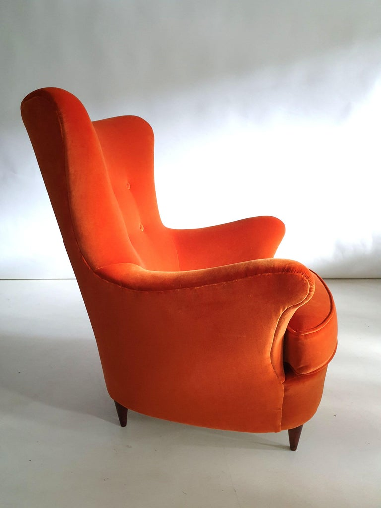 Upholstery Pair of Mid-Century Modern Armchairs by Renato Angeli and Claudio Luigi For Sale