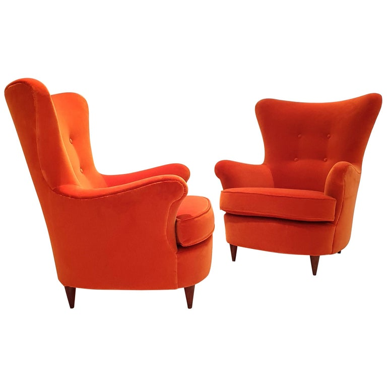 Pair of Mid-Century Modern Armchairs by Renato Angeli and Claudio Luigi For Sale