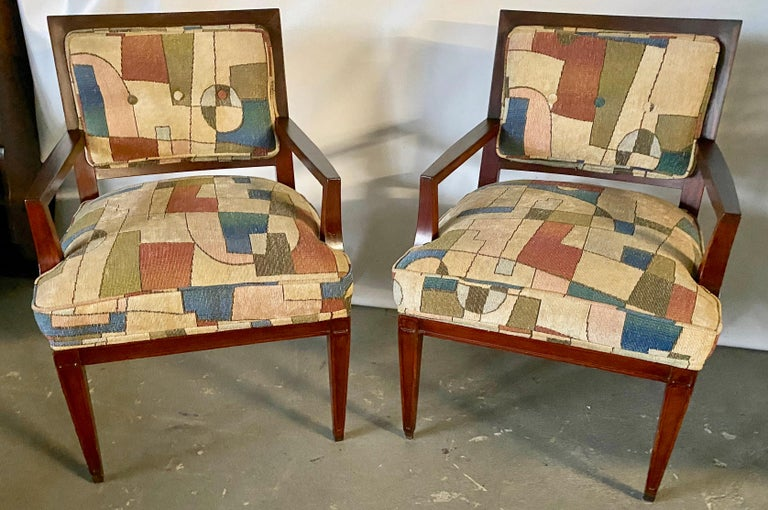 Pair of stylish Mid-Century Modern armchairs covered in Jack Lenor Larsen style upholstery. Chairs are great as lounge chair, office chair, professional office waiting room chairs. Measures: Arm H 23.75