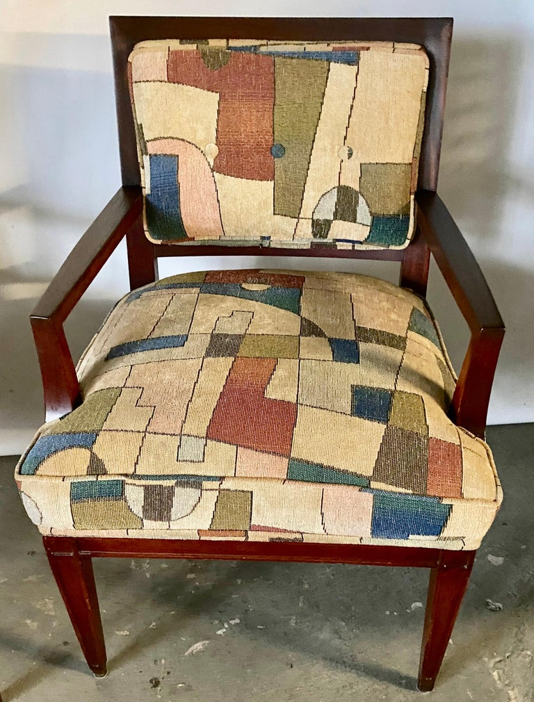 Stained Pair of Mid-Century Modern Armchairs For Sale
