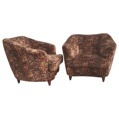 Pair of Mid-Century Modern Armchairs in the Manner of Gio Ponti