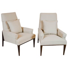 Pair of Mid-Century Modern Armchairs, Newly Upholstered