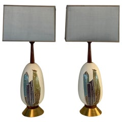 Pair of Mid-Century Modern Art Pottery Table Lamps