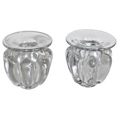 Pair of Mid-Century Modern Art Vannes French Clear Art Glass Vases
