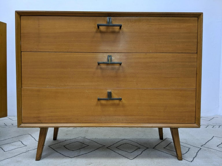 Pair of Mid-Century Modern Bachelor Chest, Commodes or Dressers In Fair Condition For Sale In Stamford, CT