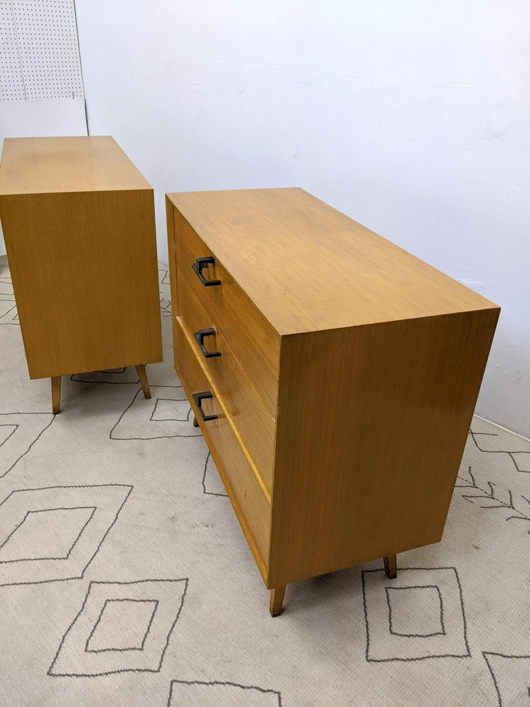 Brass Pair of Mid-Century Modern Bachelor Chest, Commodes or Dressers For Sale