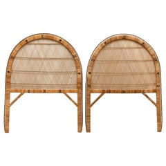 Pair of Mid-Century Modern Bamboo and Rattan Headboard Handcrafted French, 1960