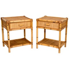 Pair of Mid-Century Modern Bamboo and Rattan Italian Bed Sideboards, 1960s