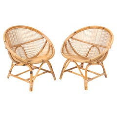 Pair of Mid-Century Modern Bamboo Rattan Lounge Chairs, 1950s