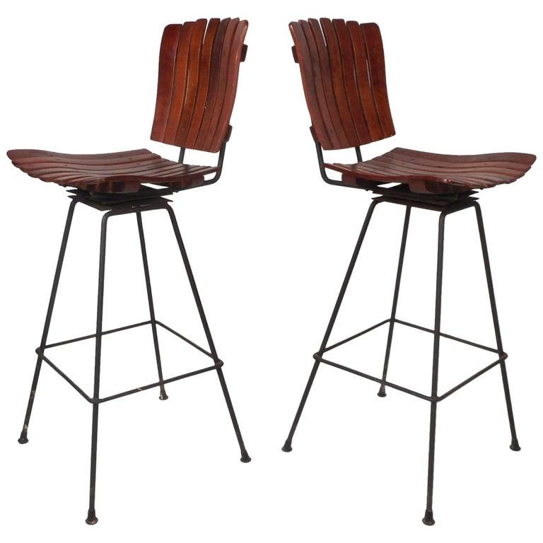 Pair of Mid-Century Modern Bar Swivel Stools by Arthur Umanoff For Sale