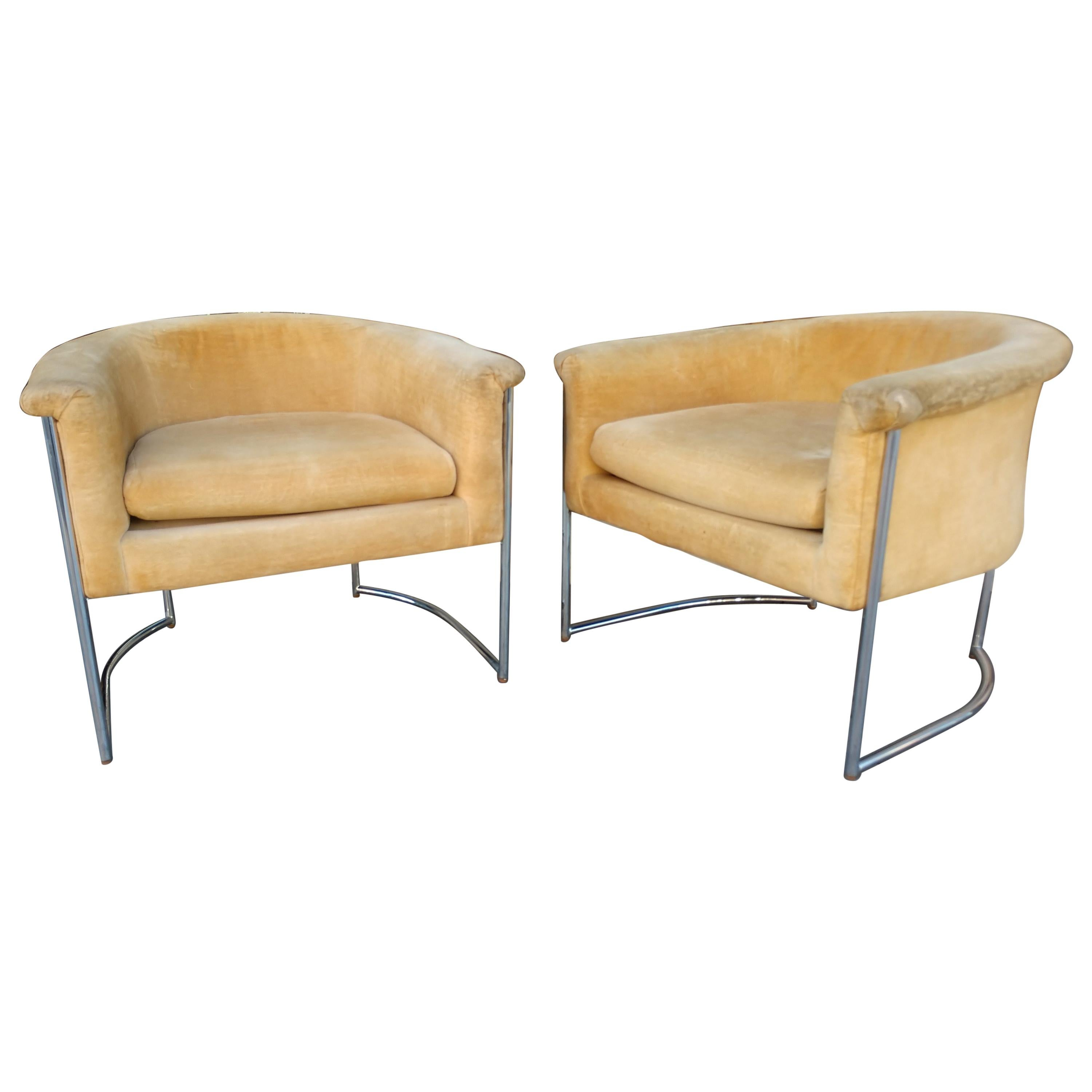 Pair of Mid-Century Modern Barrel Back Lounge Chairs
