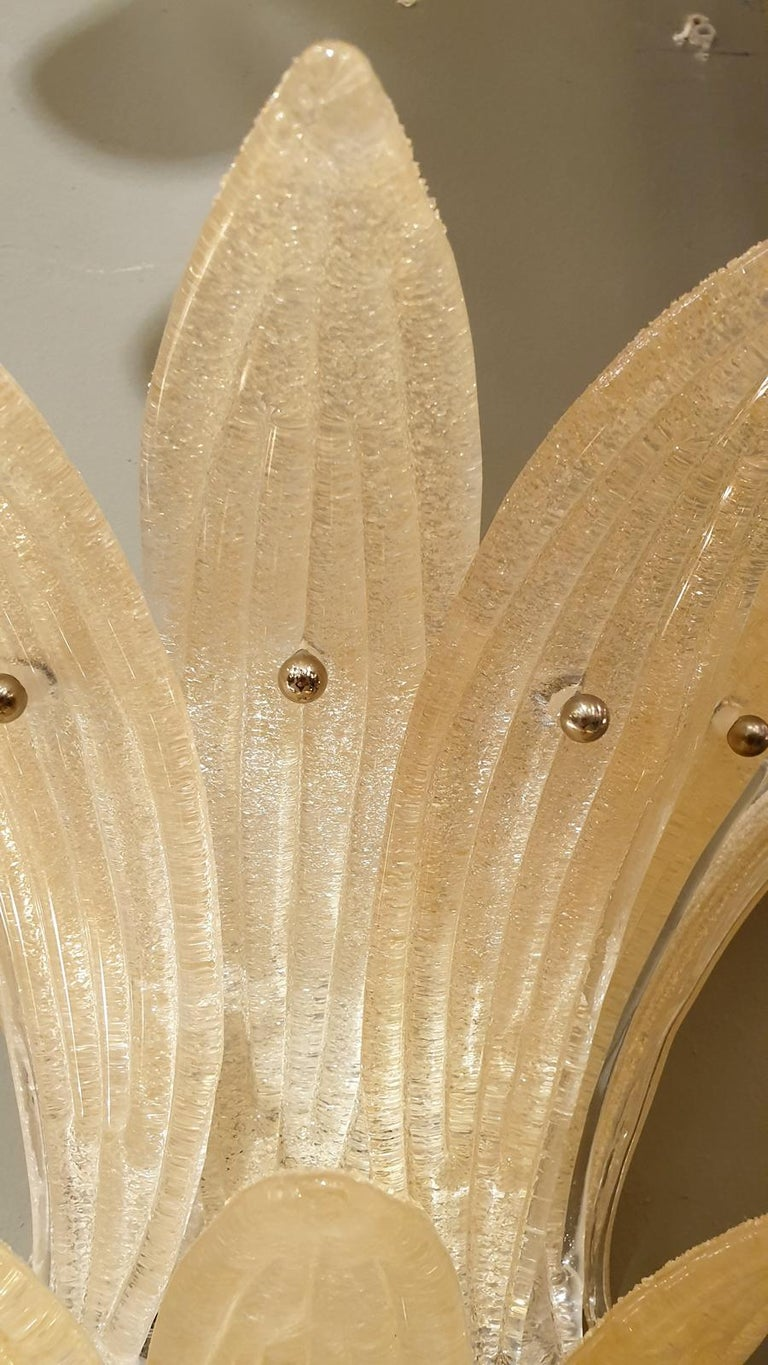 Pair of Mid-Century Modern Beige Murano Glass Pineapple Sconces, by Venini 1970s In Excellent Condition In Dallas, TX