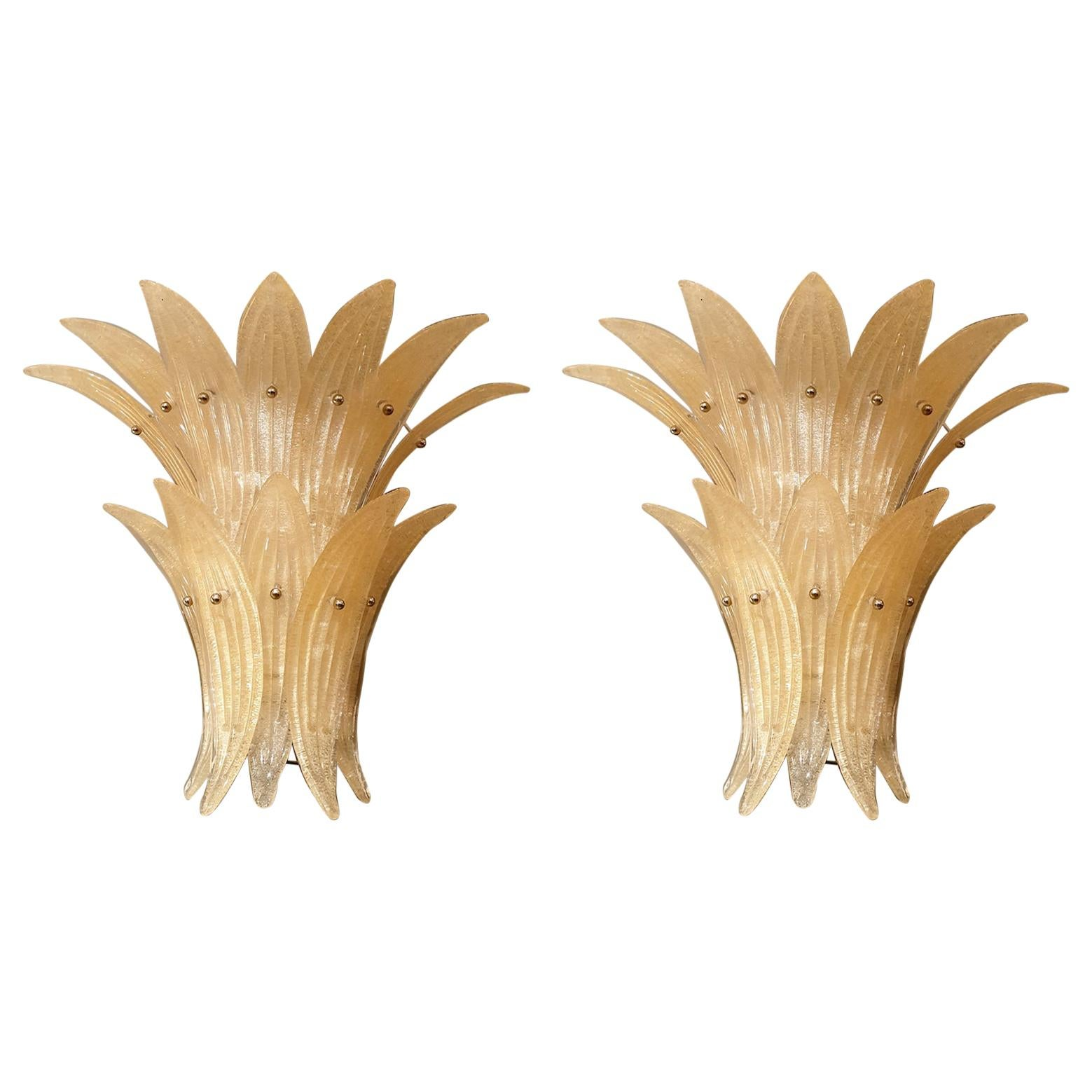Pair of Mid-Century Modern Beige Murano Glass Pineapple Sconces, by Venini 1970s