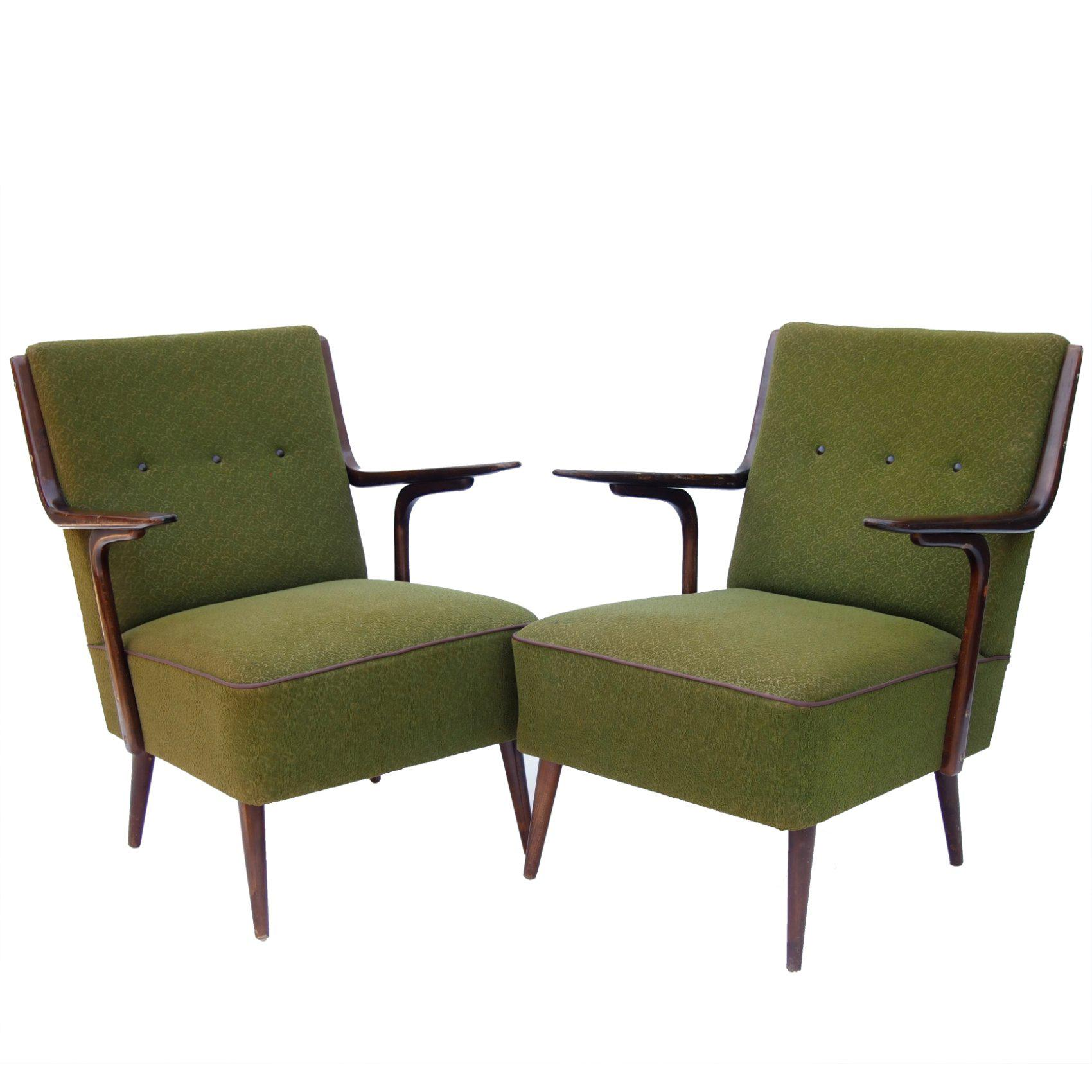 Pair of Art Deco Bentwood Armchairs, 1930s