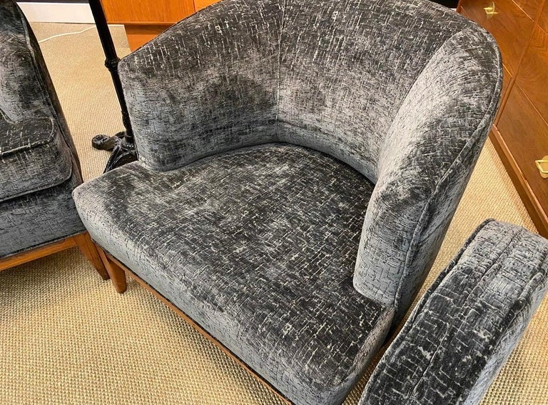 Fabric Pair of Mid-Century Modern Bespoke Custom Newly Upholstered Club Chairs For Sale