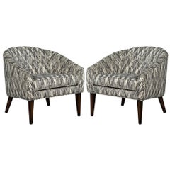 Pair of Mid-Century Modern Black and White Lounge Chairs