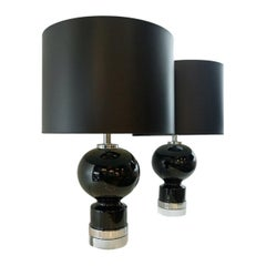 Pair of Mid-Century Modern Black Ceramic Table Lamps with Chrome & Lucite Bases