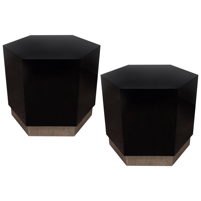 Pair of Mid-Century Modern Black Lacquer and Chrome Hexagonal Side Tables