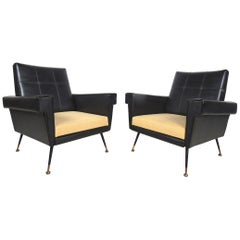 Pair of Mid-Century Modern Black Vinyl Lounge Chairs