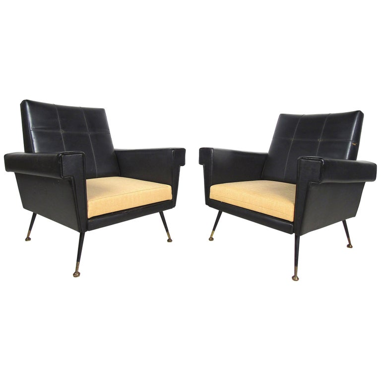 Pair of Mid-Century Modern Black Vinyl Lounge Chairs For Sale