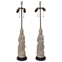 Pair of Mid-Century Modern Blanc de Chine Crackle Glaze Asian Table Lamps
