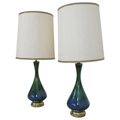 Pair of Mid-Century Modern Blue Green Drip Glaze Table Lamps