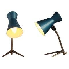 Pair of Mid-Century Modern Blue Nightstand Lamps, Hungary 1960s