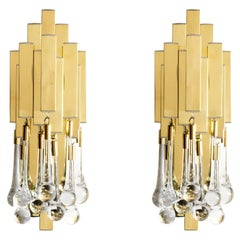 Pair of Mid-Century Modern Brass and Crystal Sconces by Lumica, Barcelona Spain
