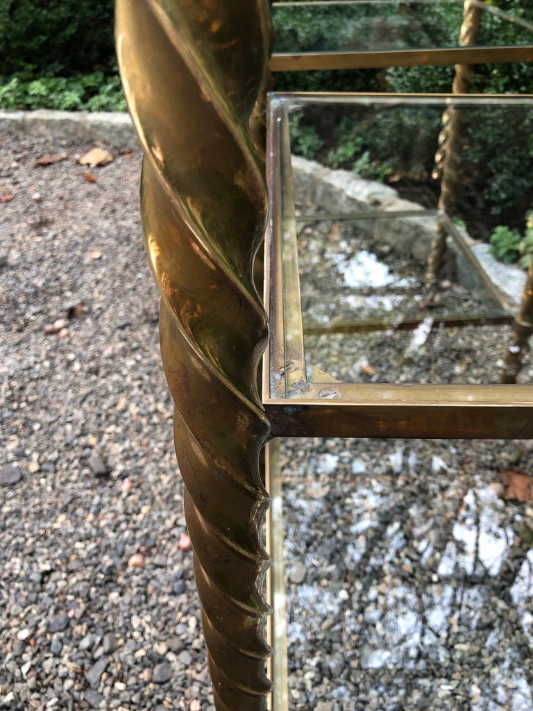 Pair of Mid-Century Modern Brass and Glass Multi Tiered Étagère Bookshelves For Sale 5