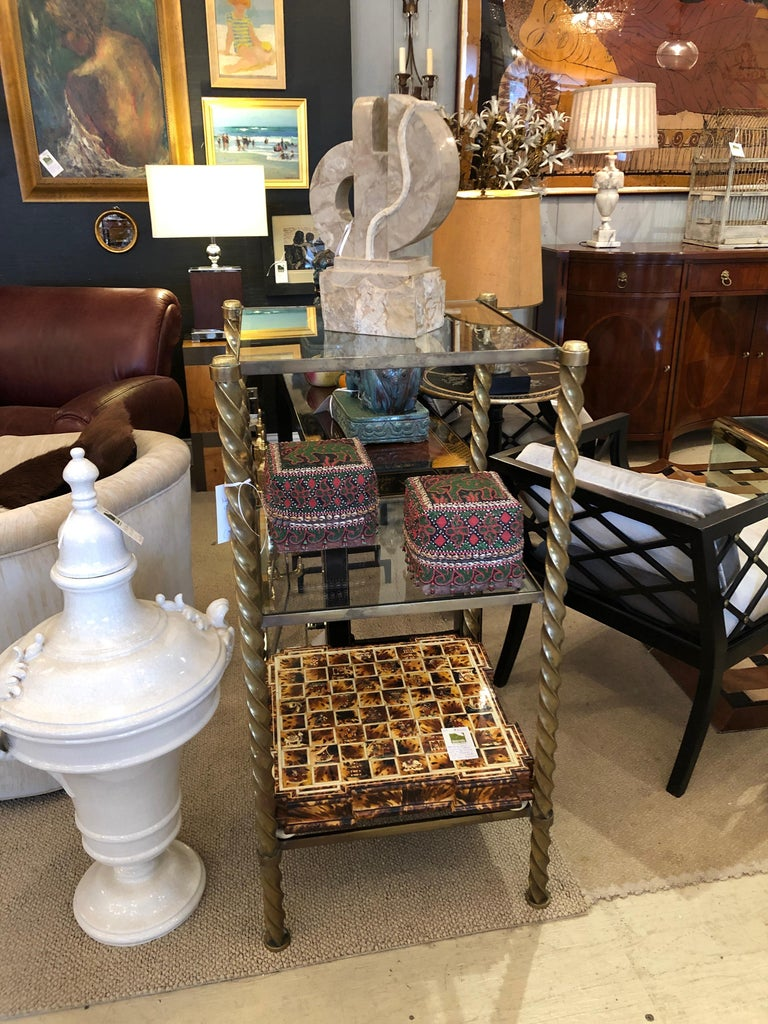 Pair of Mid-Century Modern Brass and Glass Multi Tiered Étagère Bookshelves For Sale 6
