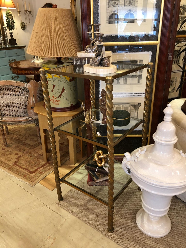 Pair of Mid-Century Modern Brass and Glass Multi Tiered Étagère Bookshelves For Sale 7