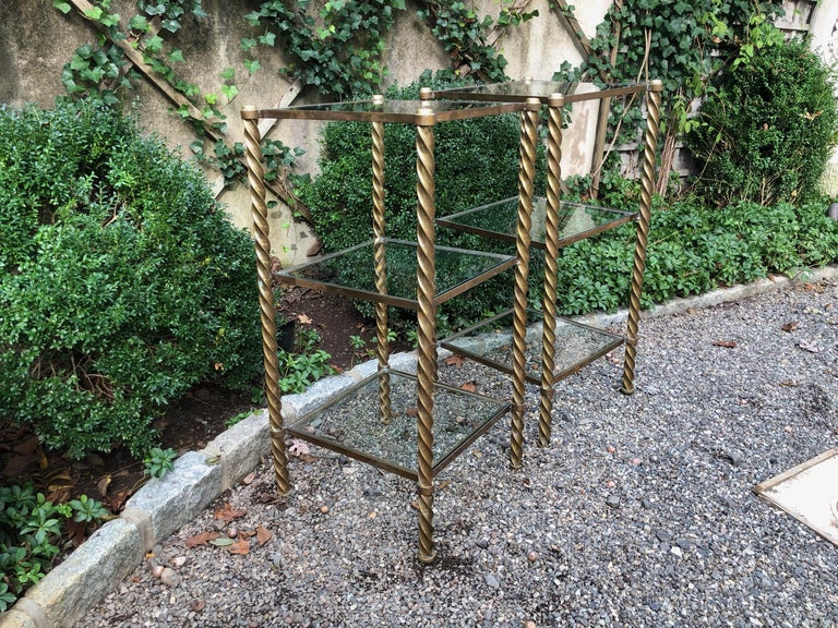 Late 20th Century Pair of Mid-Century Modern Brass and Glass Multi Tiered Étagère Bookshelves For Sale