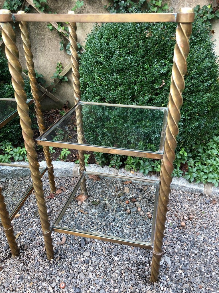 Pair of Mid-Century Modern Brass and Glass Multi Tiered Étagère Bookshelves For Sale 2