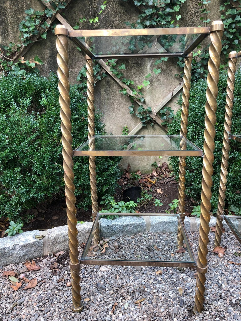 Pair of Mid-Century Modern Brass and Glass Multi Tiered Étagère Bookshelves For Sale 3
