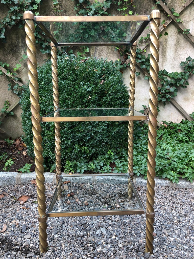 Pair of Mid-Century Modern Brass and Glass Multi Tiered Étagère Bookshelves For Sale 4