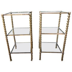 Pair of Mid-Century Modern Brass and Glass Multi Tiered Étagère Bookshelves