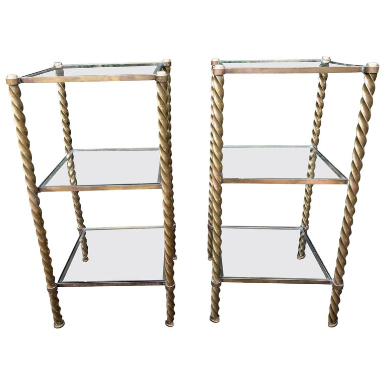 Pair of Mid-Century Modern Brass and Glass Multi Tiered Étagère Bookshelves For Sale