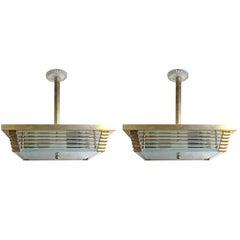 Pair of Mid-Century Modern Brass and Glass Pendant Lights