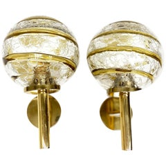 Pair of Mid-Century Modern Brass and Murano Glass Ball Sconces, Germany