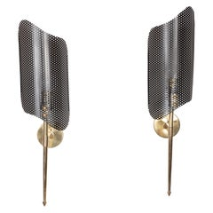 Pair of Mid-Century Modern Brass and Perforated Metal Sconces by Mathieu Mategot