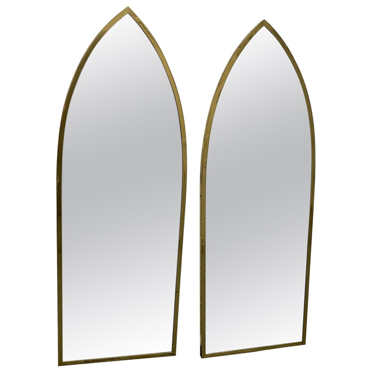 Pair Of Mid Century Modern Brass Arched Mirrors For Sale At 1stdibs