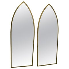 Pair of Mid-Century Modern Brass Arched Mirrors
