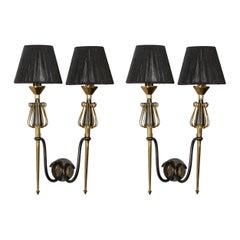 Pair of Mid-Century Modern Brass & Black Enamel Sconces w/ Curvilinear Detailing